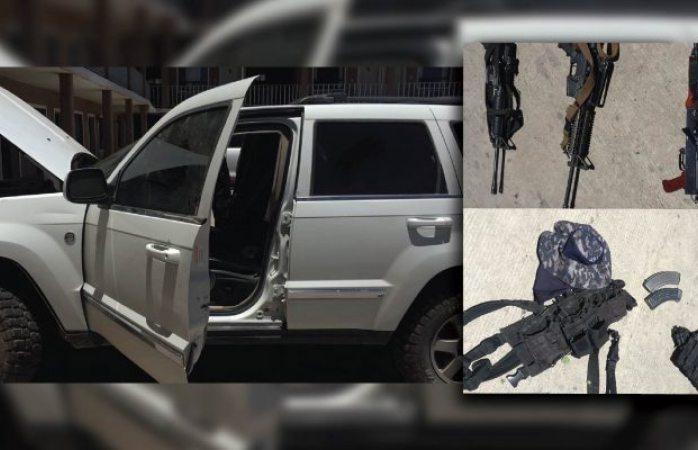 Aseguran vehículo blindado, equipo táctico y armamento en San Juanito