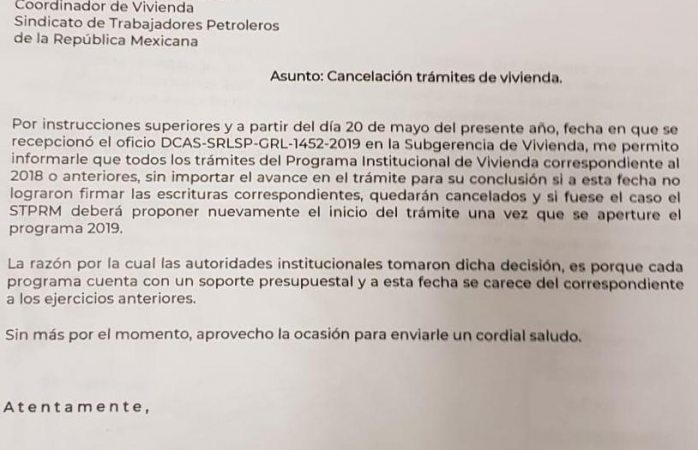 Suspenden programa de vivienda a pemex; cientos de afectados en Chihuahua