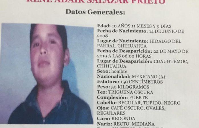 Buscan a niño de 10 años desaparecido en Cuauhtémoc