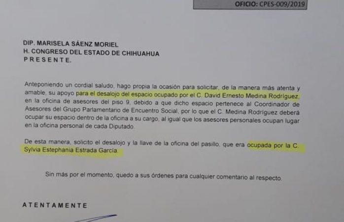 Misael Máynez le desaloja asesores a diputada Saénz