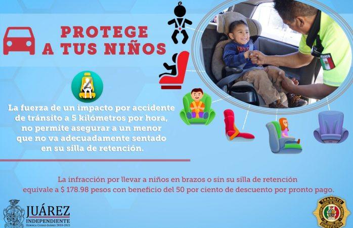 Exhorta tránsito el uso de la silla para trasladar a infantes