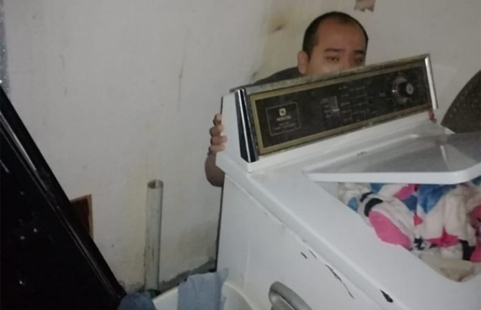 Hallan atrás de lavadora a hombre reportado como desaparecido