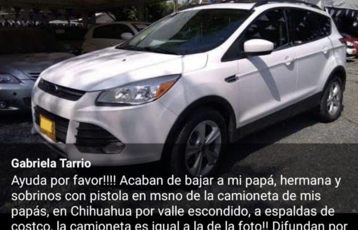 Grupo armado roba a familia su auto en valle escondido