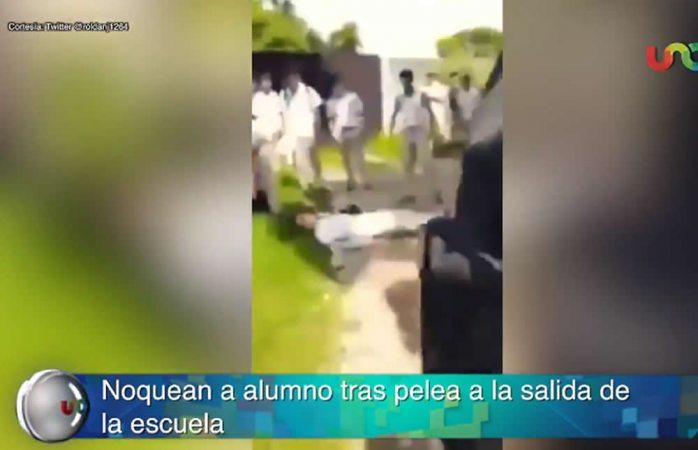 Termina noqueado en pelea entre alumnos en tabasco