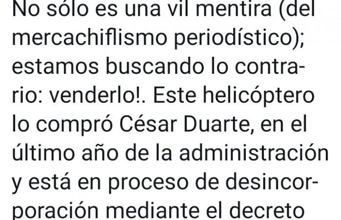 Mentira del mercachiflismo periodístico dice corral por helicóptero