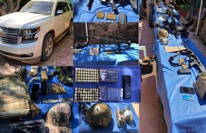 Hallan barrets y equipo táctico en carro robado en Aldama