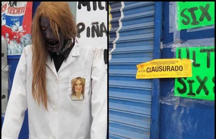 Adorna maniquí zombie con foto de alcaldesa y le clausuran su negocio
