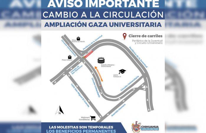 Anuncia municipio vías alternas por trabajos en la gaza universitaria