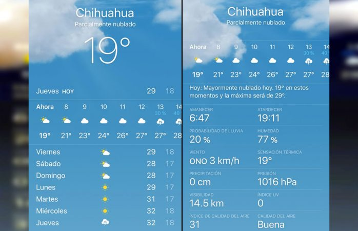 Máxima de 29 grados en chihuahua este jueves