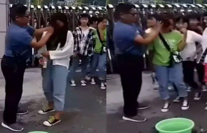 Generan indignación imágenes de maestro desmaquillando a sus alumnas a la fuerza