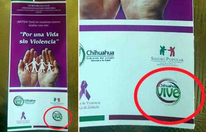 Reparten folletos con logo de chihuahua vive en centros de salud