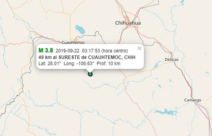 Tiembla al sureste de Cuauhtémoc