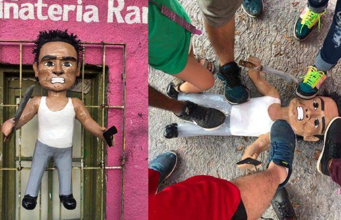 Crean piñata del asaltante de combi