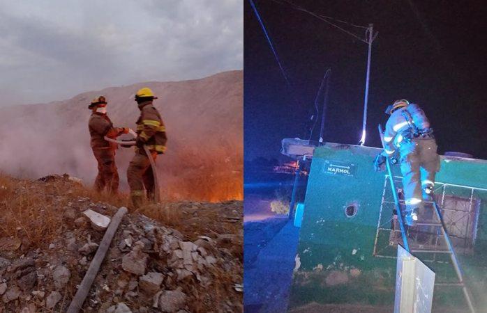 Sofocan bomberos dos incendios y atienden otros servicios durante últimas horas