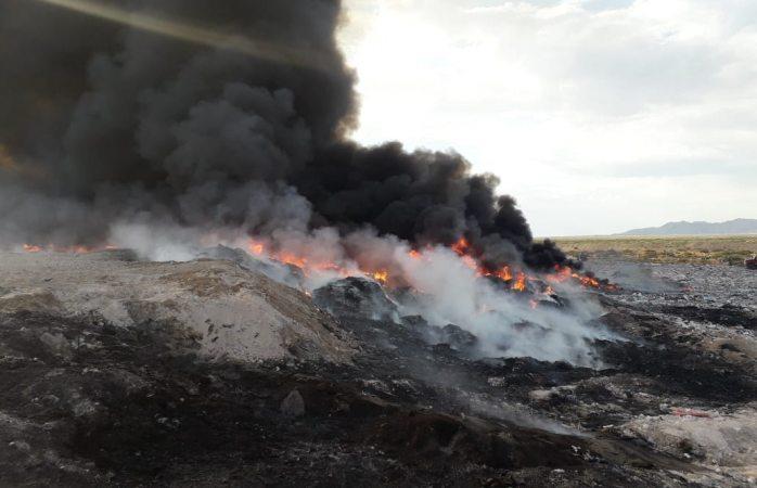 Controla protección civil incendio en relleno sanitario particular
