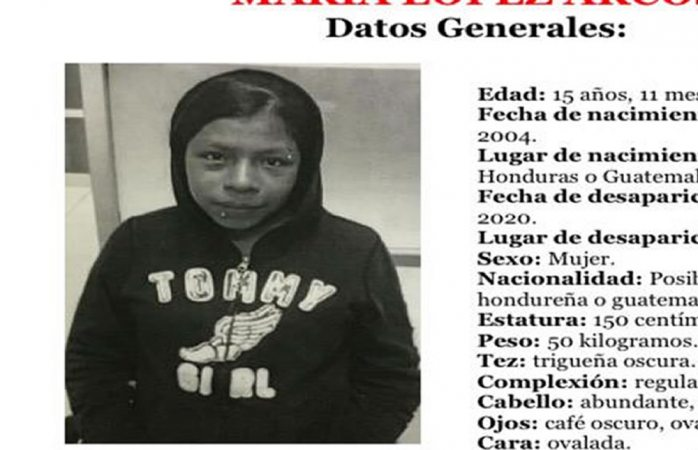Desaparece quinceañera centroamericana aquí