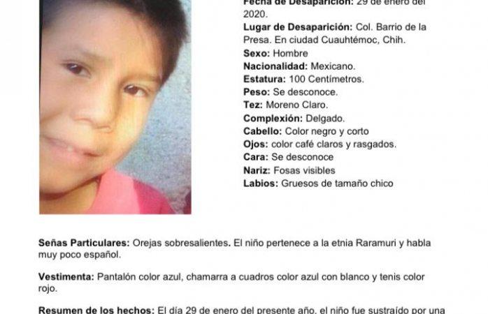 Desaparece niño de 6 años en Cuauhtémoc