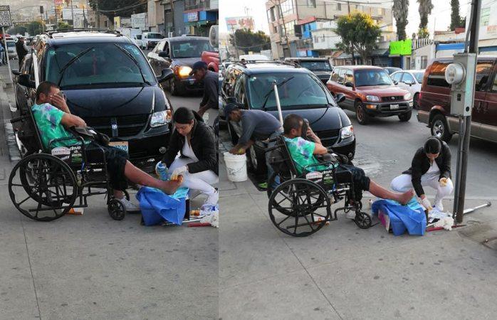 Enfermera cura las heridas de un indigente y se hace viral