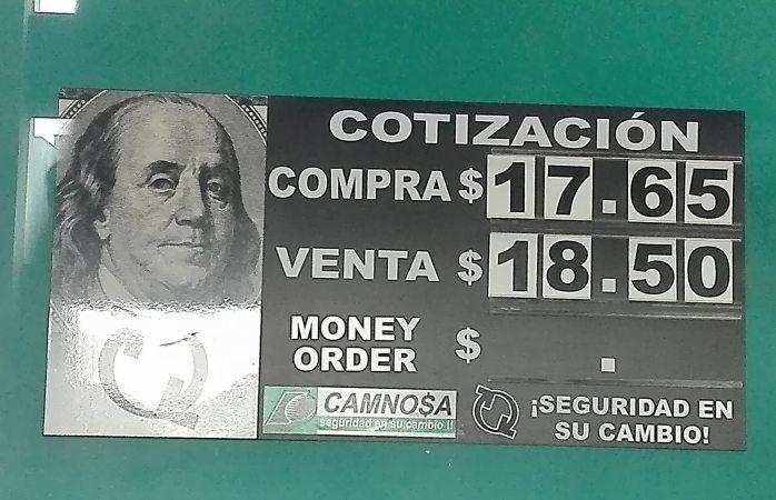 Cotizan dólar en $18.50