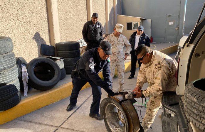 Aseguran metanfetamina en llantas de un vehículo en rúa a Chihuahua