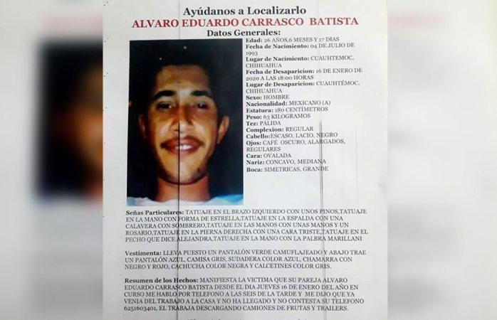 Piden ayuda para localizar a Álvaro Eduardo Carrasco Batista