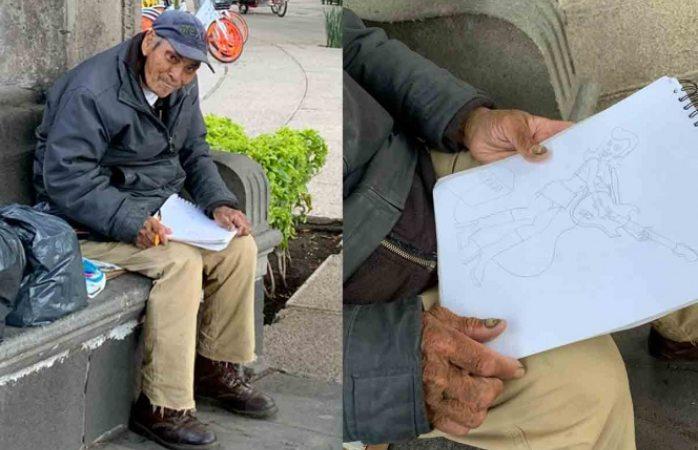 Abuelito vende dibujos en la calle para poder sobrevivir durante pandemia