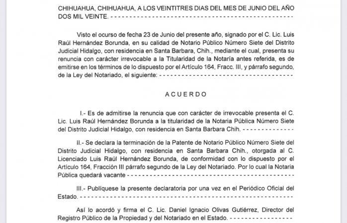 Renuncia Hernández Borunda a notaría siete