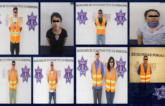 Detienen a nueve personas por delito de violencia familiar