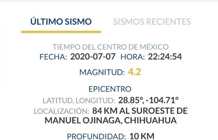 Registran sismo de 4.2° entre Ojinaga y Aldama