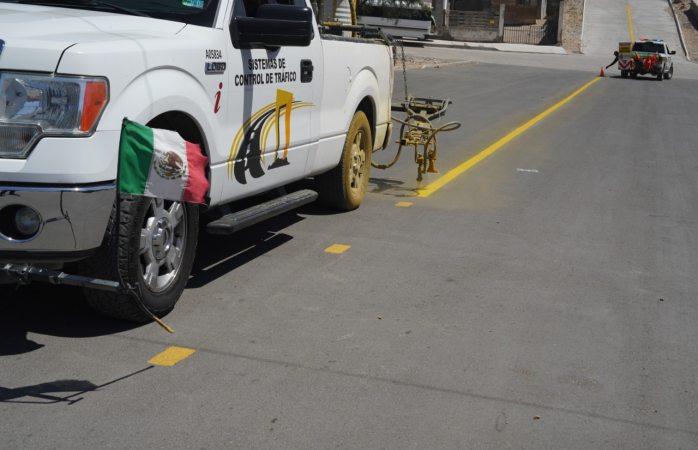 Aplica seguridad vial más de 10 mil metros lineales de pintura en la ciudad