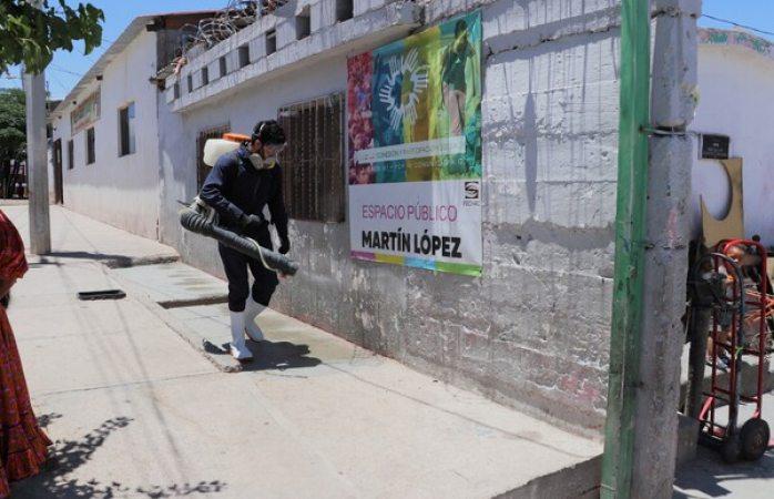 Desinfectan asentamiento tarahumara el oasis
