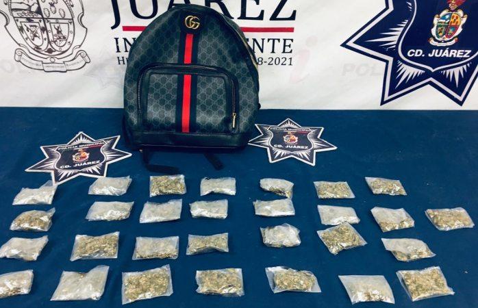 Capturan a adolescente en poder de 29 envoltorios de marihuana