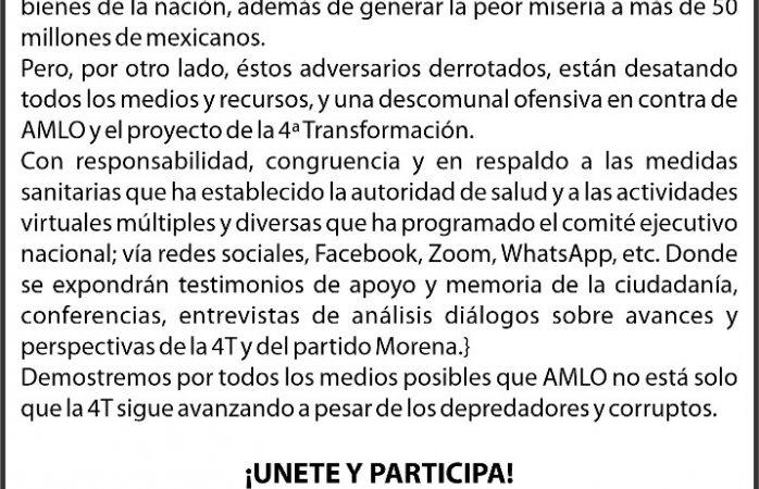 Cancelan marcha morenista