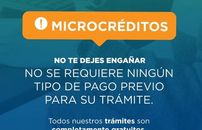 Desarrollo económico no solicita dinero para tramitar microcreditos