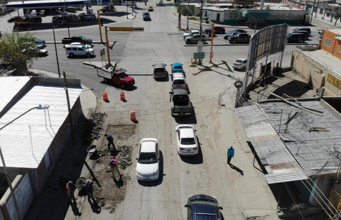 Reparan tramo en la avenida municipio libre e insurgentes
