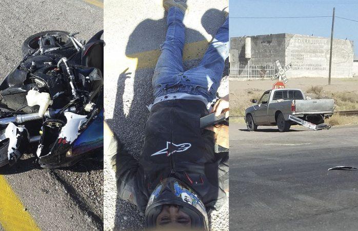 Resulta lesionado motociclista en choque vs pickup
