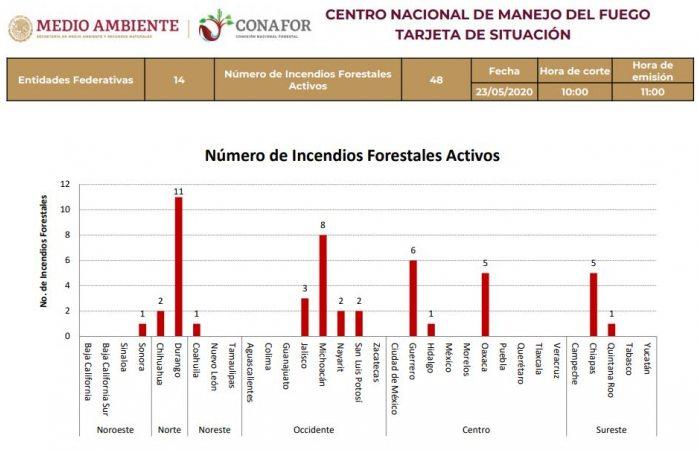 Suman 48 incendios forestales activos en el país