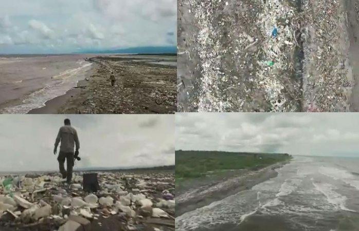 Exhiben kilométricas toneladas de basura en playas del caribe