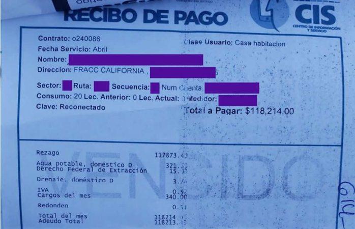 Se queda sin empleo y le llega recibo de agua por $118 mil pesos