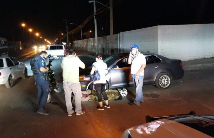 Resulta lesionado motociclista al ser embestido en la avenida Palestina