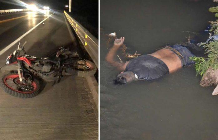 Muere motociclista tras chocar y caer en arroyo