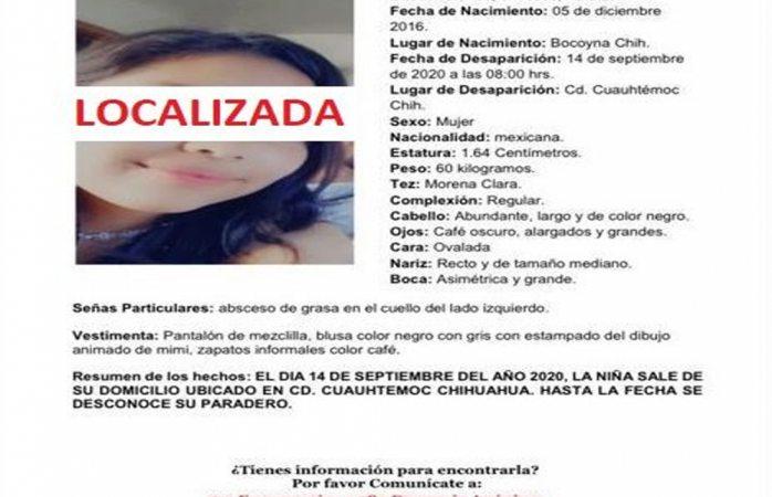 Localizan viva a adolescente desaparecida en cuauhtémoc